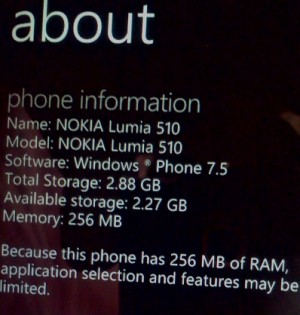 Lumia 510 Hardware- storage