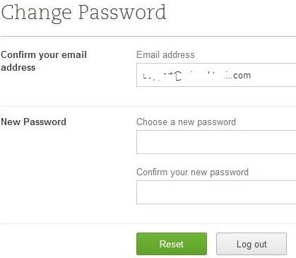 Evernote Password reset