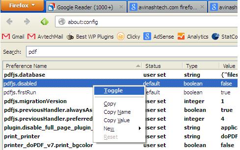 Default Firefox PDF viewer setting